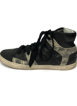Lanvin Black Leather Snake Skin Print Sneakers