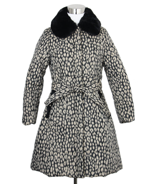 Lanvin Black Tan Print Rabbit Collar Coat 1