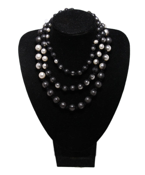 Lanvin Black White Beaded Grey Necklace 1