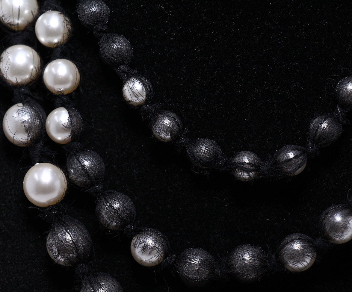 Lanvin Black White Beaded Grey Necklace 3