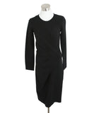 Lanvin Black Wool Faux Wrap Dress 1