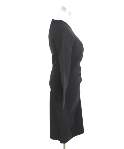 Lanvin Black Wool Faux Wrap Dress 2