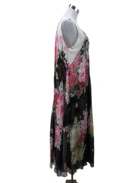 Lanvin Black Ivory Pink Floral Silk Dress 1