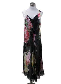 Lanvin Black Ivory Pink Floral Silk Dress
