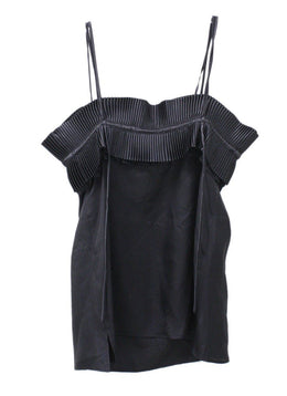 Lanvin Black Silk Ruffle Trim Top 1
