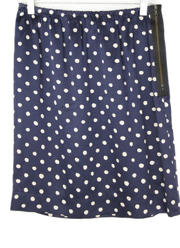 Lanvin Navy with Polka Dots Silk Skirt 1