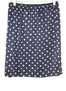 Lanvin Navy with Polka Dots Silk Skirt 2