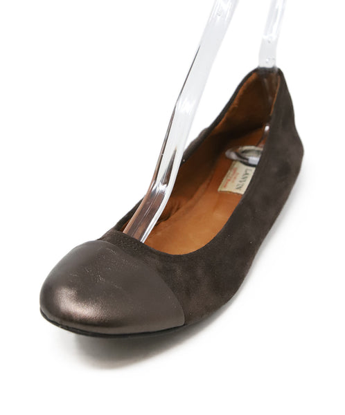 Lanvin Brown Suede Flats with Leather Trim 1