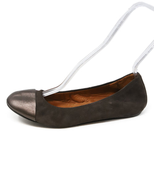 Lanvin Brown Suede Flats with Leather Trim 2