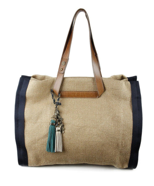 Lanvin Tan Burlap Blue Fabric Brown LeatherTrim Handbag