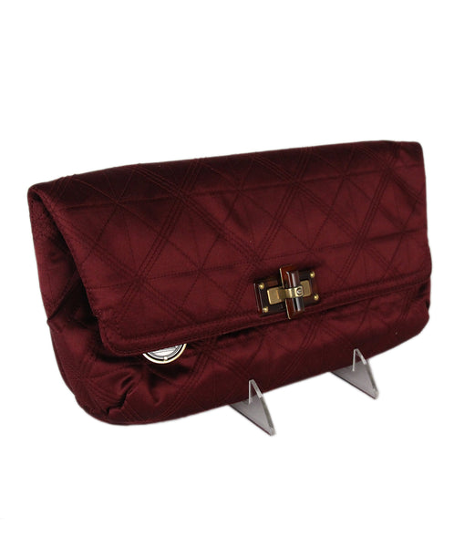 Lanvin Burgundy Silk Clutch 2