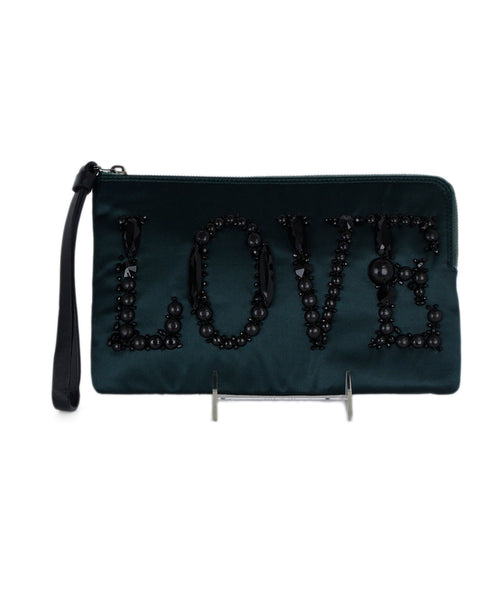 Lanvin Hunter Green Satin Black Beaded Clutch Handbag 1