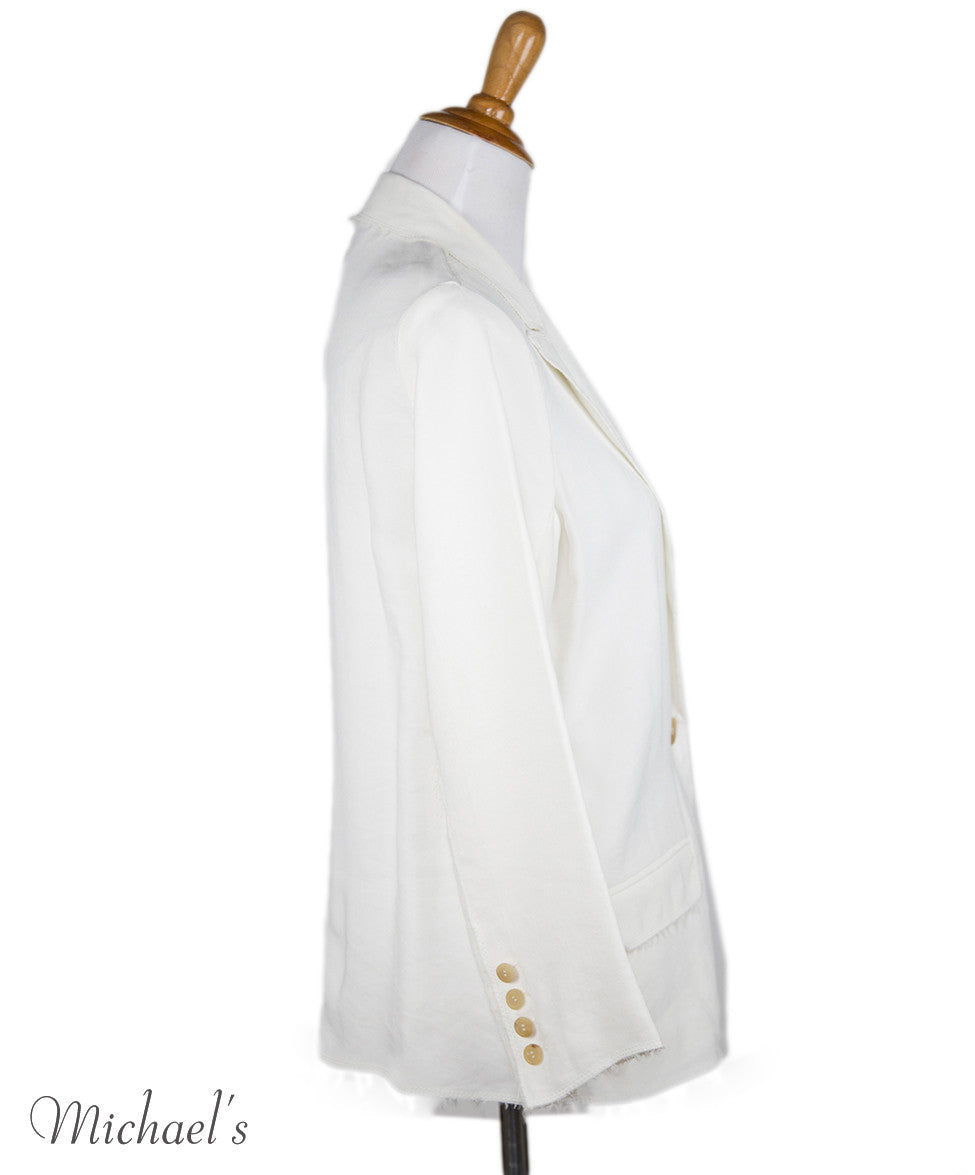 Lanvin Ivory Viscose Jacket Sz 6 - Michael's Consignment NYC  - 2