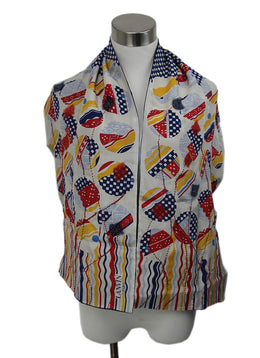 Lanvin Multi Blue Silk White Red Yellow Beaded Scarf 1