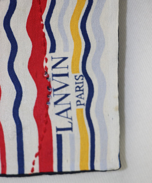 Lanvin Multi Blue Silk White Red Yellow Beaded Scarf 2