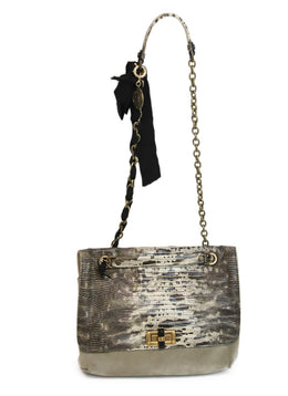 Lanvin Neutral Snake Print Suede Shoulder Bag 1