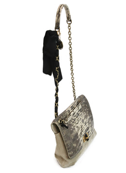 Lanvin Neutral Snake Print Suede Shoulder Bag 2