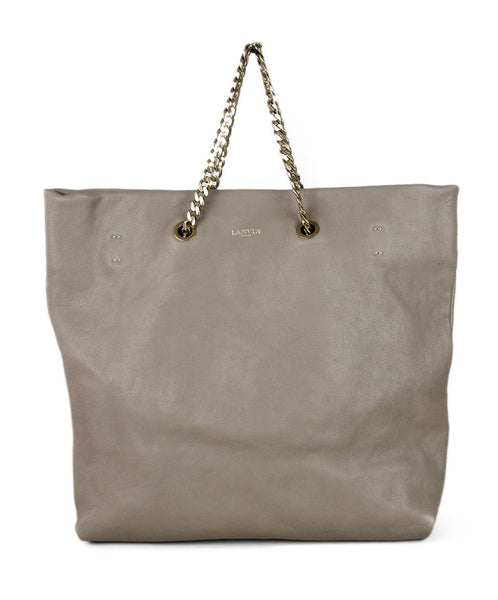 Lanvin Neutral Taupe Leather Handbag