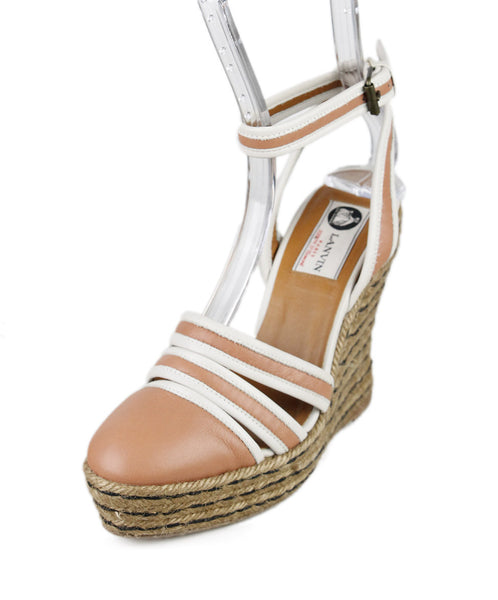 Lanvin Peach Leather Espadrilles Wedges Sz 36