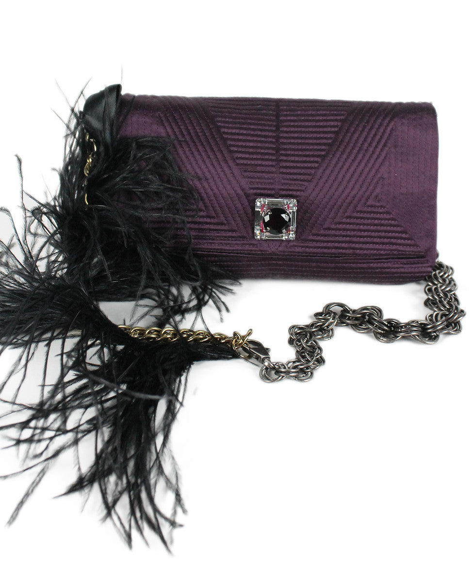 Lanvin Purple Silk Maribou Feathers Handbag - Michael's Consignment NYC  - 1