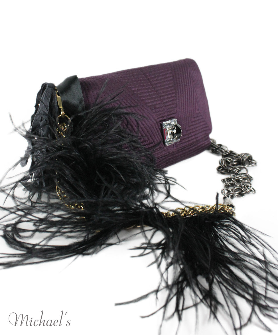 Lanvin Purple Silk Maribou Feathers Handbag - Michael's Consignment NYC  - 2