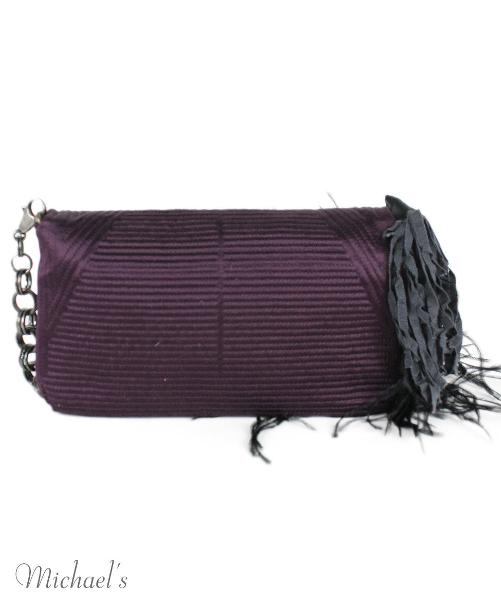 Lanvin Purple Silk Maribou Feathers Handbag - Michael's Consignment NYC  - 3