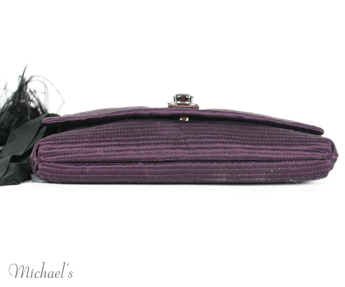 Lanvin Purple Silk Maribou Feathers Handbag - Michael's Consignment NYC  - 7