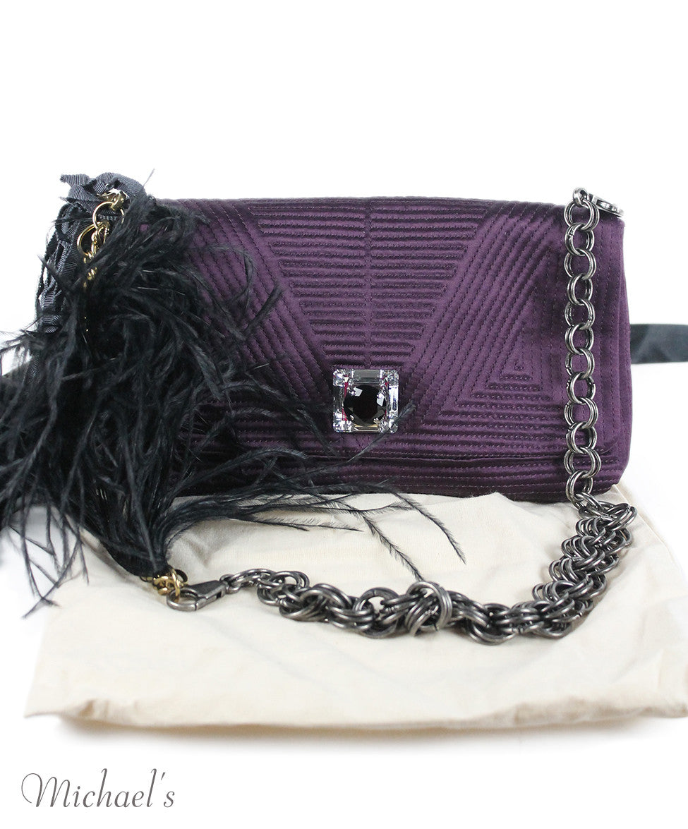 Lanvin Purple Silk Maribou Feathers Handbag - Michael's Consignment NYC  - 12