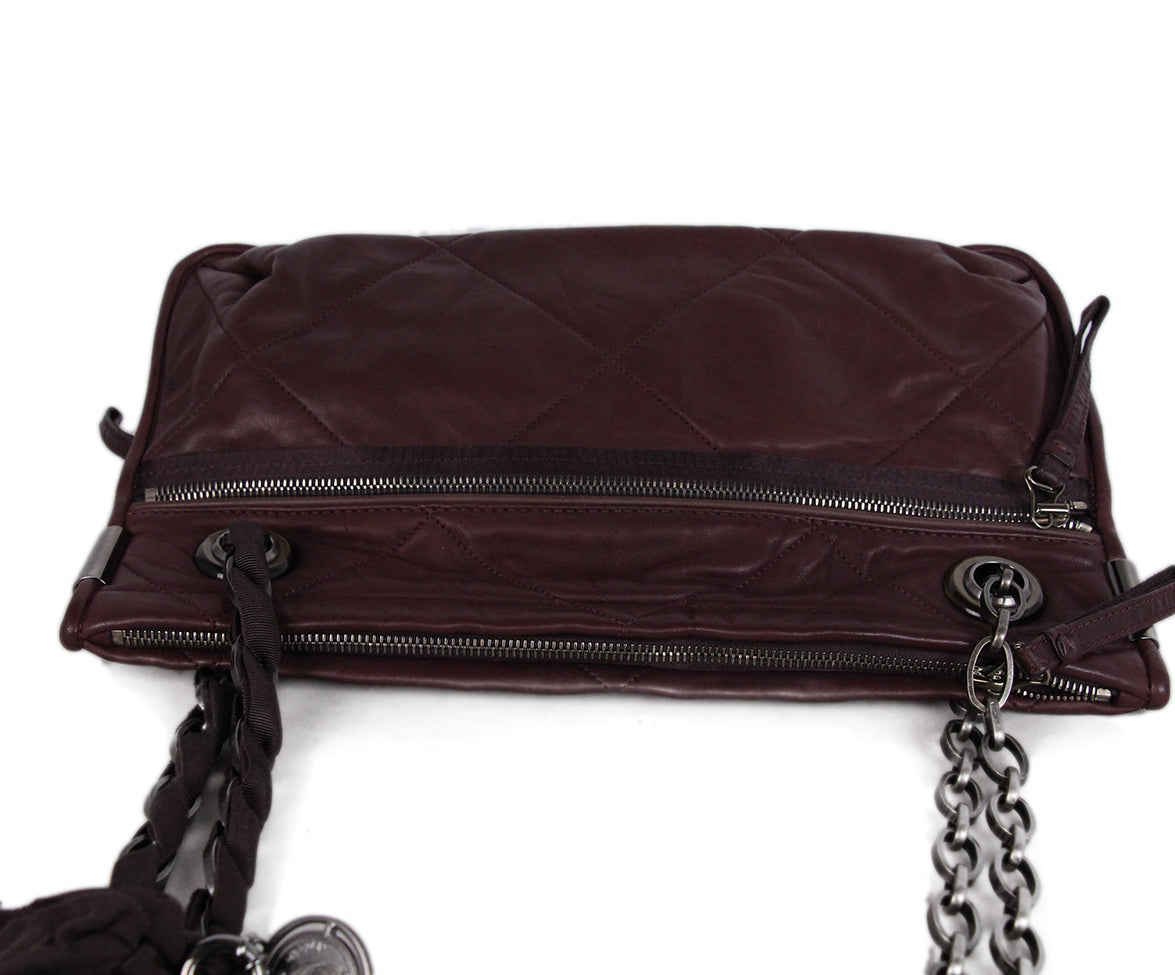 Lanvin Purple Plum Leather Shoulder Bag 5