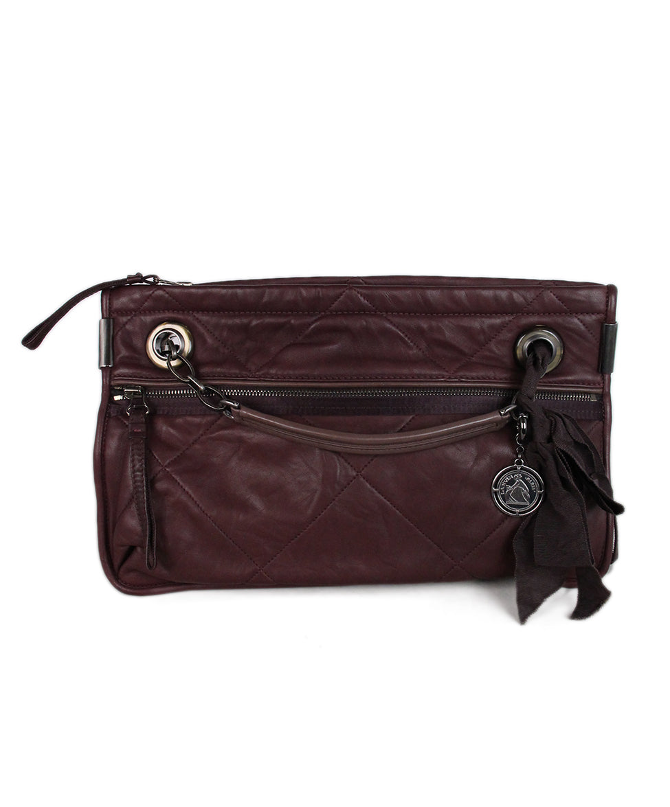 Lanvin Purple Plum Leather Shoulder Bag 1