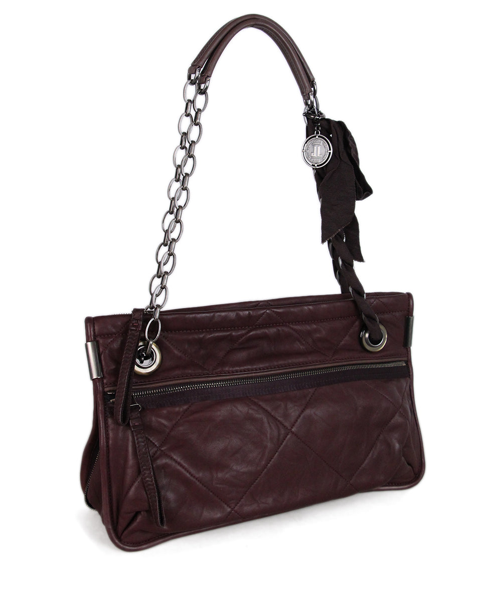 Lanvin Purple Plum Leather Shoulder Bag 2