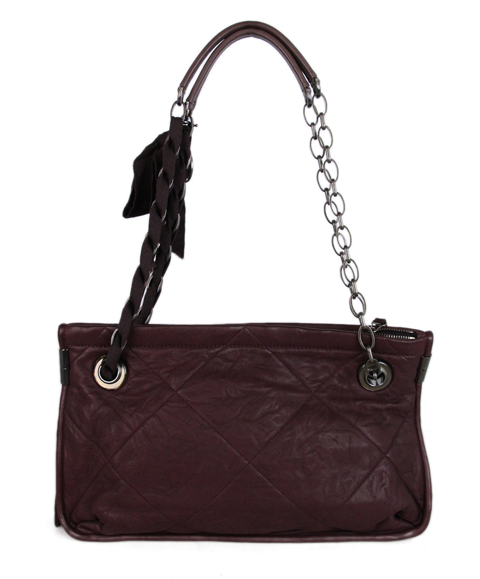 Lanvin Purple Plum Leather Shoulder Bag 3
