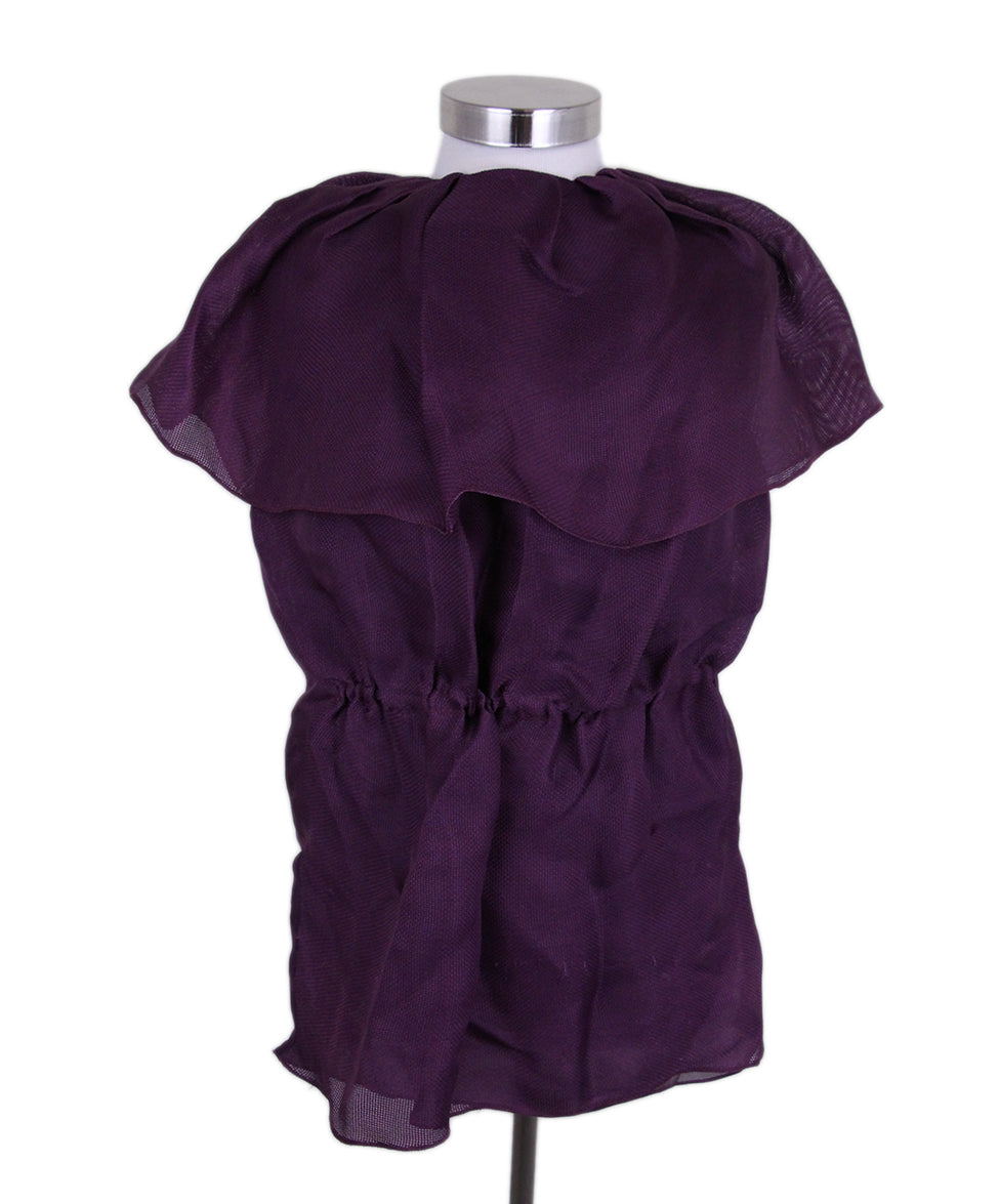 Lanvin Purple Silk Ruffle Blouse 1