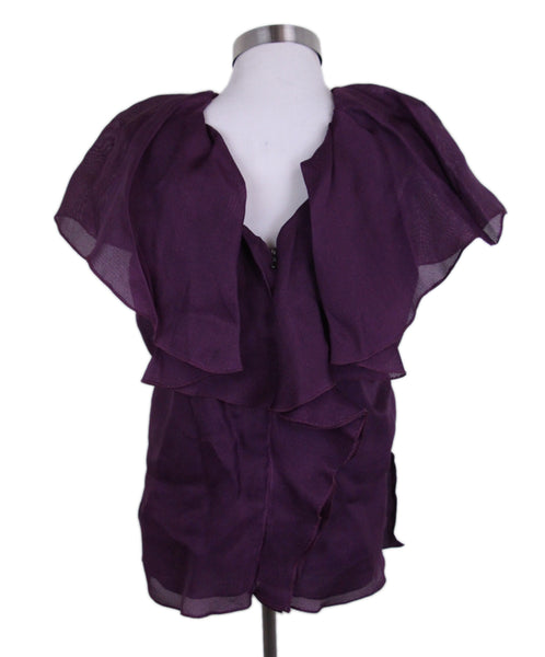 Lanvin Purple Silk Ruffle Blouse 3