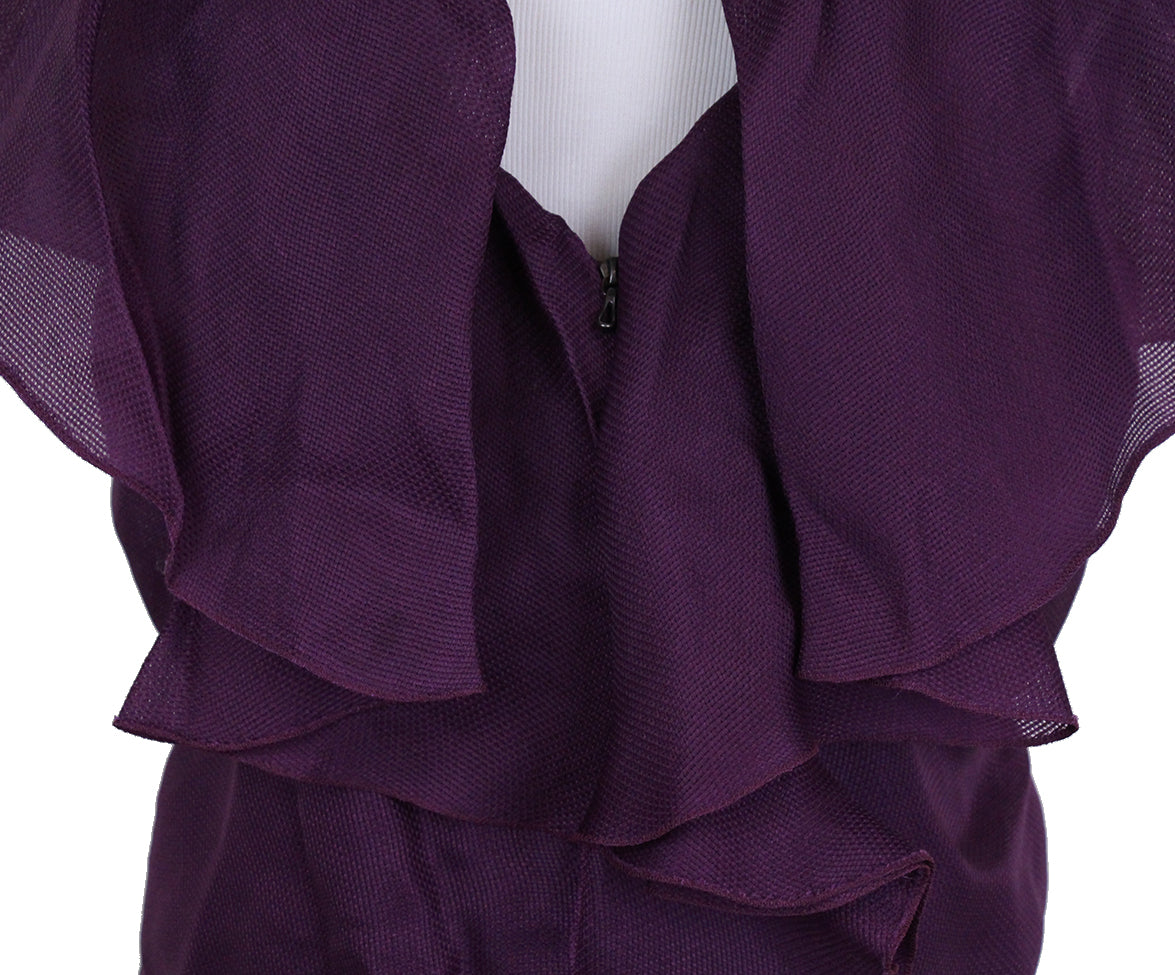 Lanvin Purple Silk Ruffle Blouse 5
