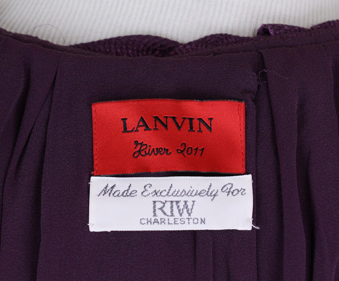 Lanvin Purple Silk Ruffle Blouse 4