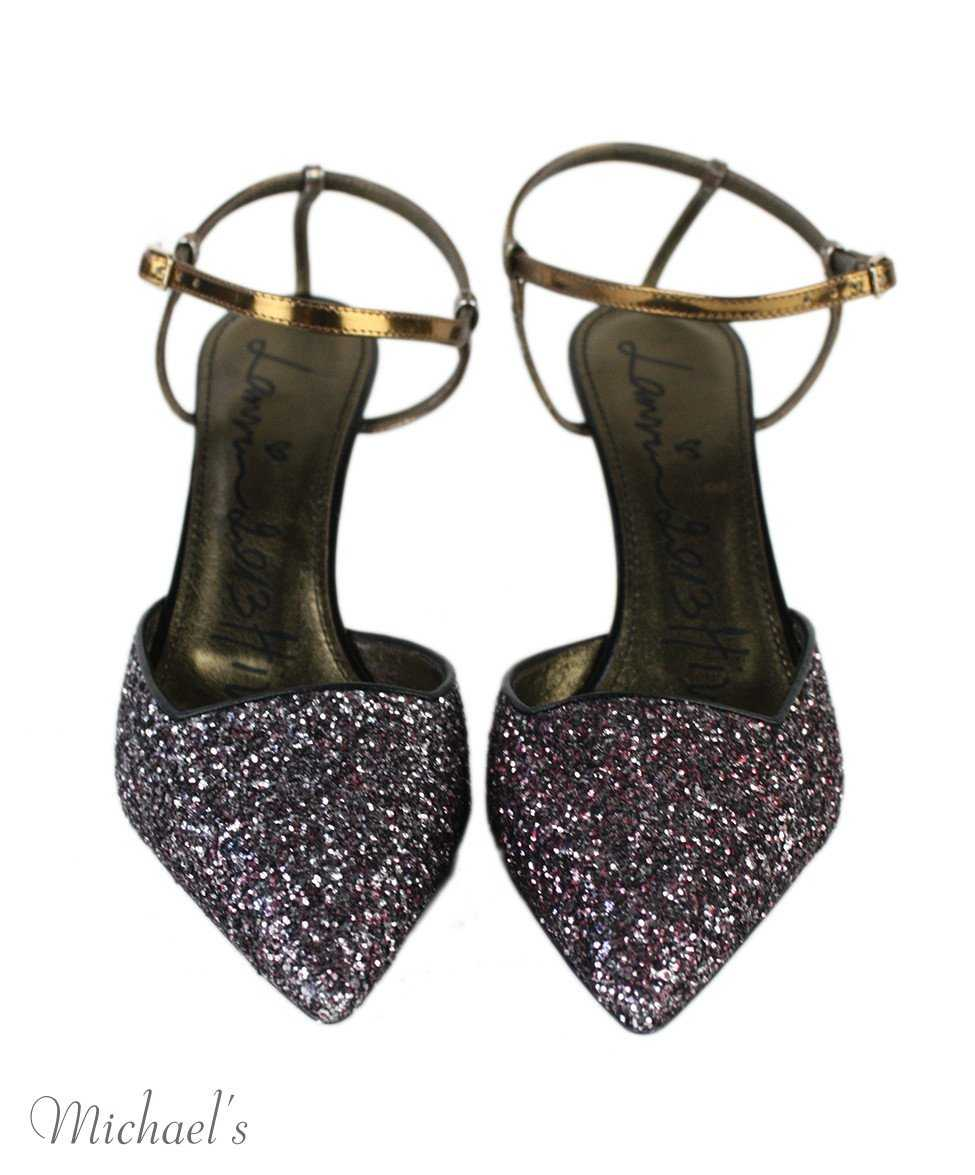 Lanvin Purple Silver Black Glitter Metallic Leather Shoes Sz 41 - Michael's Consignment NYC  - 4