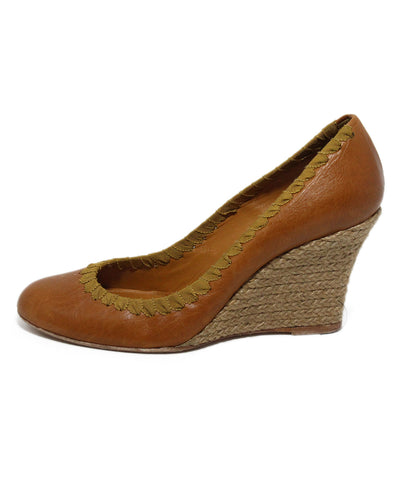 Lanvin Tan Leather Wedge Espadrilles 1