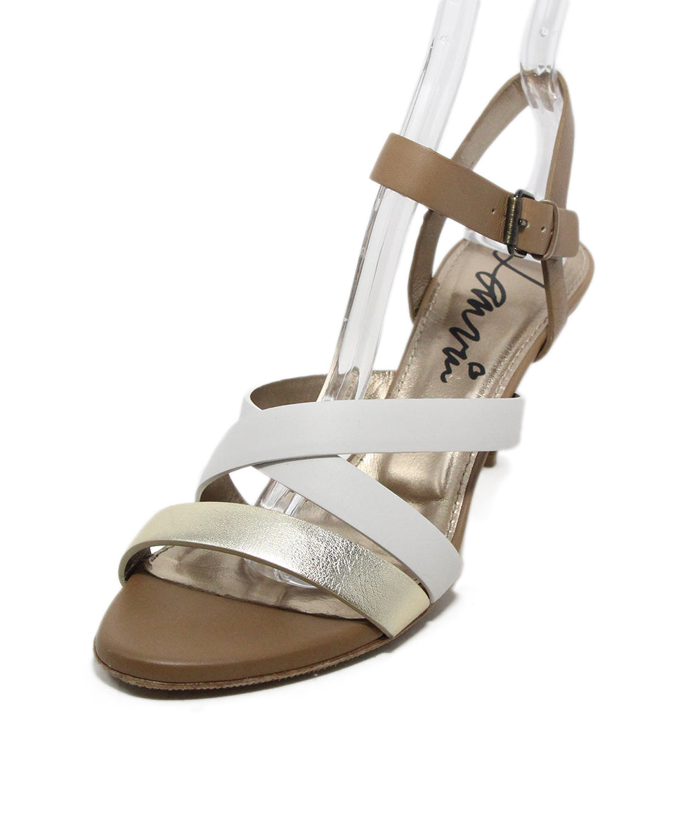 Lanvin Tan White Gold Strappy Sandals 1