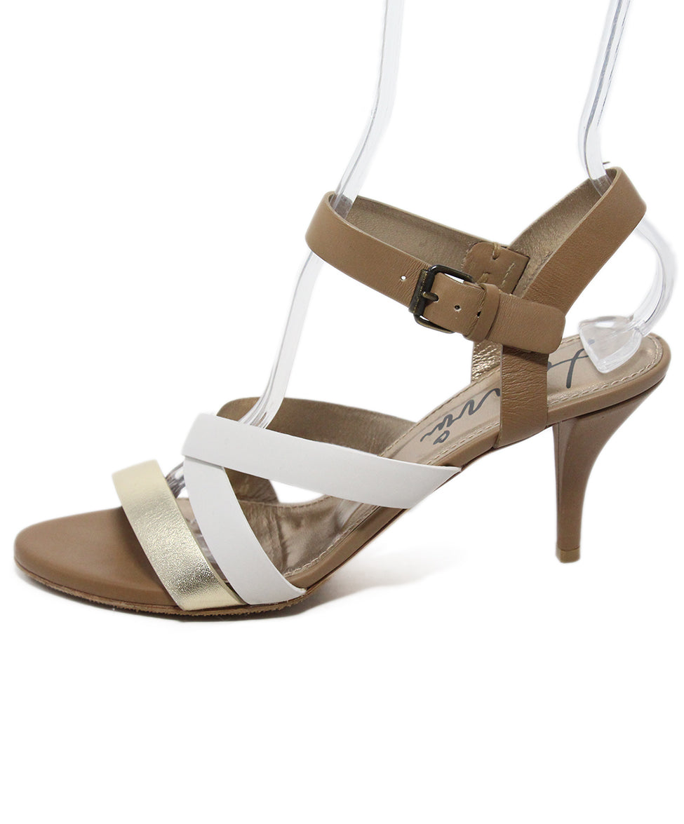 Lanvin Tan White Gold Strappy Sandals 2