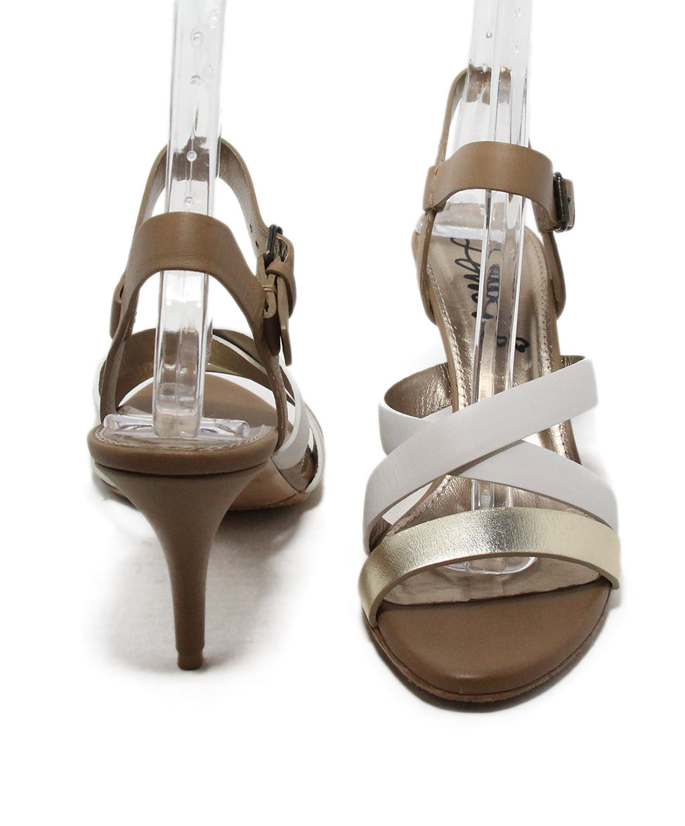 Lanvin Tan White Gold Strappy Sandals 3