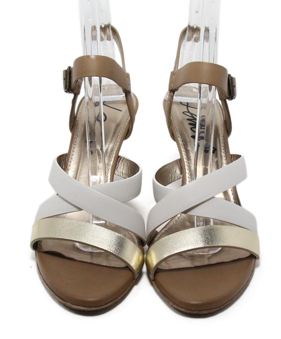 Lanvin Tan White Gold Strappy Sandals 4