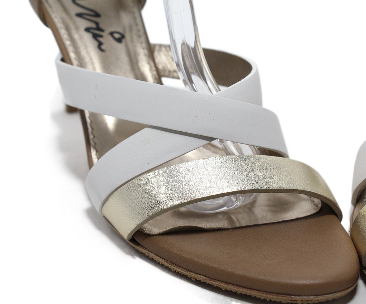 Lanvin Tan White Gold Strappy Sandals 8