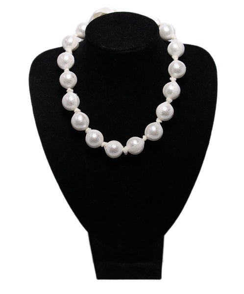 Lanvin White Beaded Ribbon Necklace 1