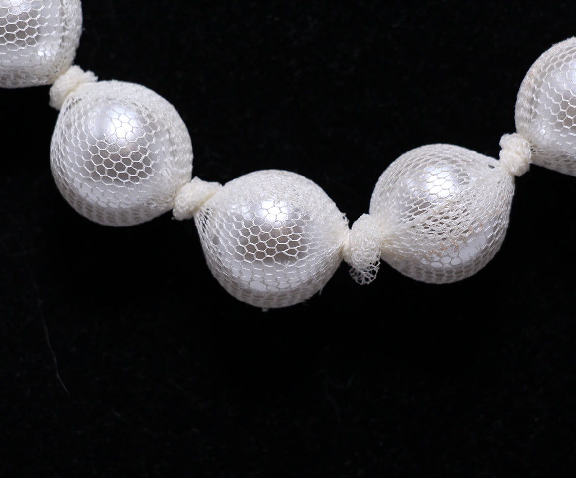 Lanvin White Beaded Ribbon Necklace 3