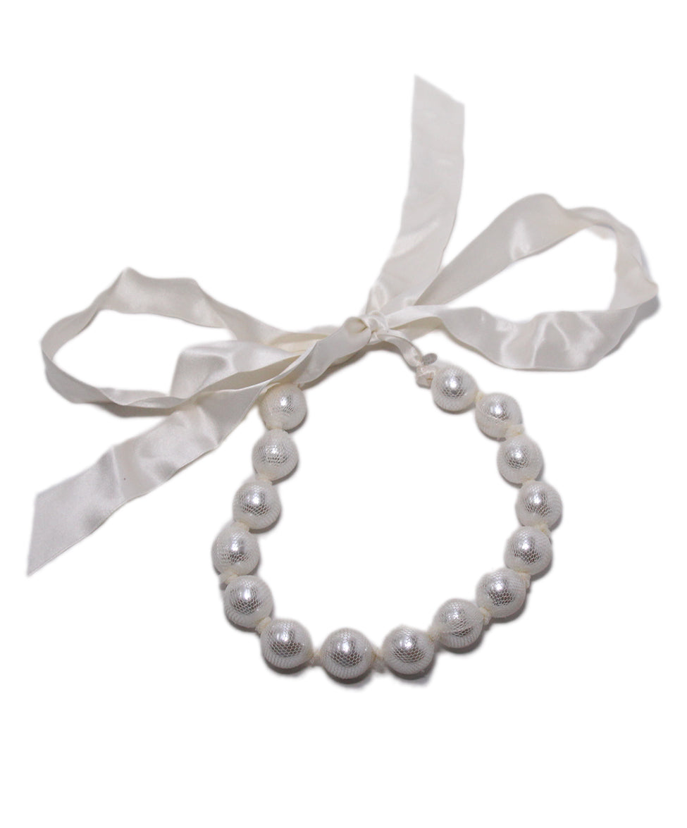 Lanvin White Beaded Ribbon Necklace 2