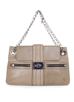 Lanvin Neutral Beige Leather Shoulder Handbag 1