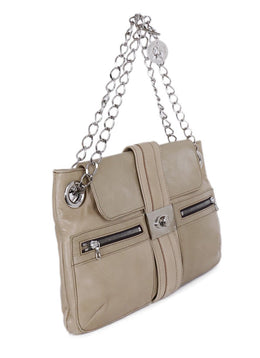 Lanvin Neutral Beige Leather Shoulder Handbag 2
