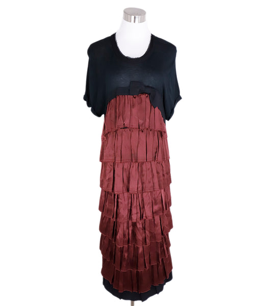 Lanvin Black Cotton Burgundy Silk Trim Ruffle Dress 1