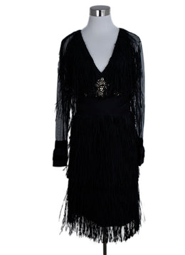 Lanvin Black Polyester Fringe Rhinestones Sheer Dress 1